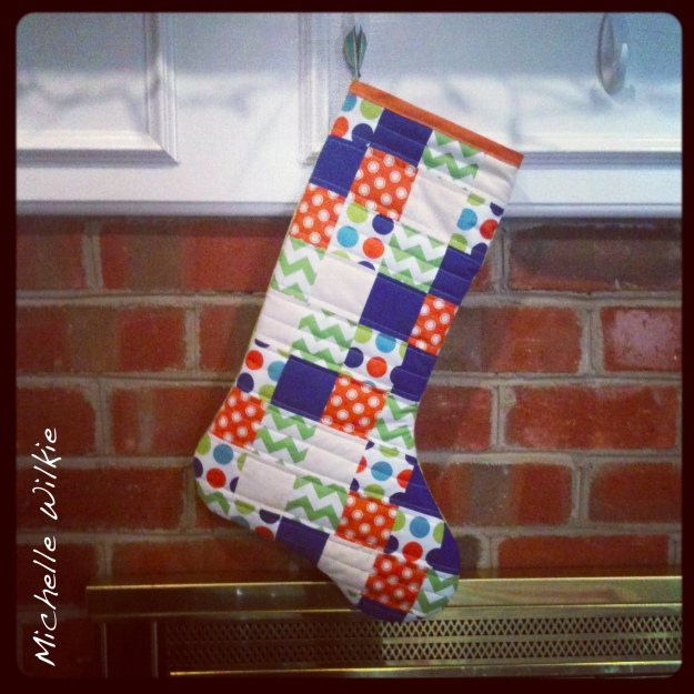 BlueGreenOrangeChristmasStocking